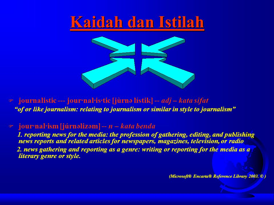 Kaidah dan Istilah journalistic --- jour·nal·is·tic [jùrnə lístik] -- adj – kata sifat.